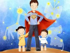Father day PowerPoint Background Template Superhero