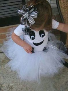 Ghost tutu. Use a onesie or a shirt for the top. Easy diy.
