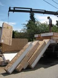 structural insulated panel construction, with panels prepped and ready to fly into place. Building Plans, Building Design, Building A House, Prefab Homes, Modular Homes, Sips Panels, Structural Insulated Panels, Timber Buildings, Solar House