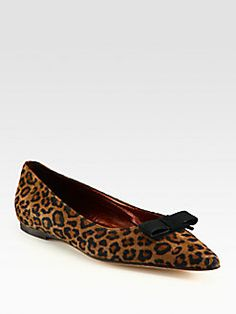 Manolo Blahnik - Leopard-Print Suede and Grosgrain Ribbon Point Toe Ballet Flats