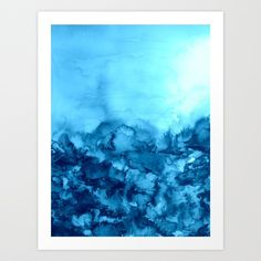INTO ETERNITY, TURQUOISE Colorful Aqua Blue Watercolor Painting Abstract Art Floral Landscape Nature Art Print by EbiEmporium | Society6