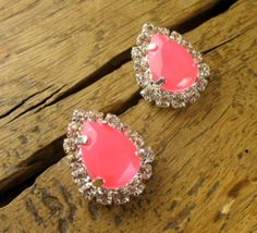 Hot Pink Crystal Teardrop Studs - $22.00