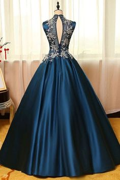 f377316c21 2017 Sexy Open Back High Neck Prom Dresses A Line Satin With Applique US   159.99