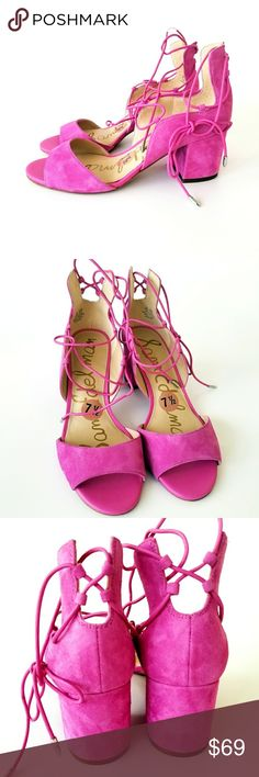 Sam Edelman Fuchsia Suede Gladiator Heels New hot pink suede leather gladiator sandals,  absolutely amazing shoes perfect for any outfits,  very comfy,  stylish,  lace up style. No  box or dust bag. Sam Edelman Shoes Heels