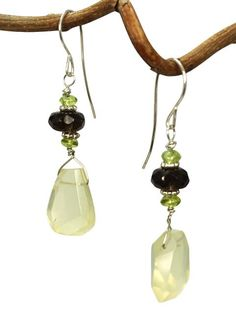 Faceted citrine and smoky quartz earrings