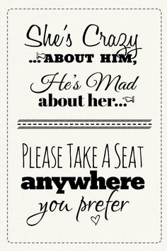 Free Printable Wedding Sign: Pick A Seat Sign