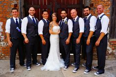 The Groomsmen with the Bride and Groom at the Cotton Mill.