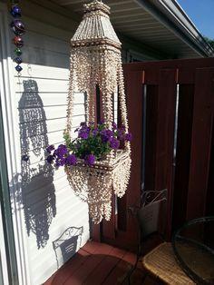 70's sea shell plant hanger swag light lamp nice!.