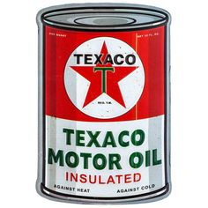 Texaco Embossed & Curved Tin Oil Can Sign