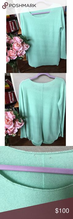 Joie cashmere sweater Lovely soft tunic length sweater. Tags were cut out and left small holes (please see pics!). Wear with leggings on the plane or jeans to a movie with friends. Gorgeous mint color. Joie Sweaters
