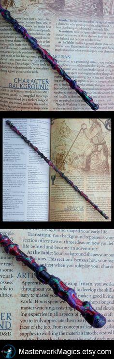Purple & Red Glitter magic wand by Masterwork Magics. #magic #wand