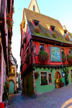 Riquewihr a medieval town in the Alsace Region in France