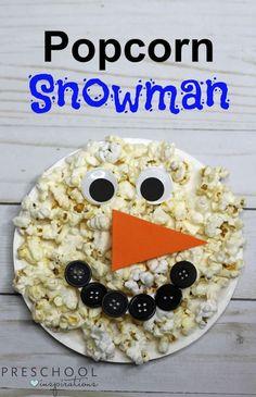 Make a Paper Plate Snowman with Popcorn #preschool #prek #kindergarten #wintercraftsforkids #snowman #winter