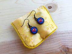 Superman earrings; Supergirl earrings; Super hero earrings; Comic book earrings; Dark golden circular earrings; Graphic novel earrings by CraftingAwayTheFeels on Etsy
