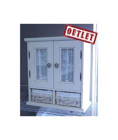 Estanteria de Baño Artehogar  Muebles de Baño Outlet Oferta Estanteria de Baño en color blanca estilo vintage. Dos puertas y dos cestas, modelo Artehogar Glasead.
