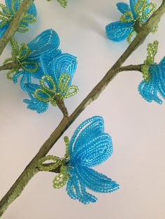 Blue Sweet Pea french beaded flower by LibbyEdith on Etsy