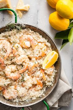 Creamy lemon shrimp risotto with rosemary and fresh Parmesan cheese