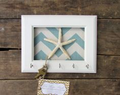 Key Holder - Wall Hook - Beach Decor - Starfish Pick Your Color Chevron 5 Silver Hooks - House warming gift