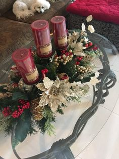 Red Poinsettia Centerpiece with 5 Candle Stand. Winter Christmas, Christmas Time, Christmas Wreaths, Christmas Crafts, Christmas Decorations, Christmas Ornaments, Etsy Christmas, Holiday Decor, Christmas Table Centerpieces