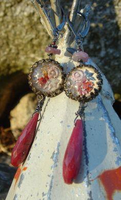Secret Garden Antique Assemblage Earrings by HappyMoonDesigns, $88.00