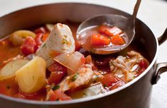 Mediterranean Fish Stew Fish Recipes, Seafood Recipes, Soup Recipes, Vegetarian Recipes, Cooking Recipes, Healthy Recipes, Nytimes Recipes, Seafood Dishes, Cooking Tips