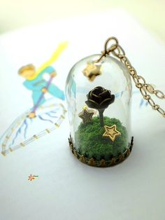 the little prince's rose necklace. story domes glass by plingstore