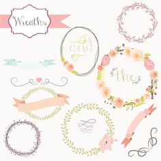 Buy 2 Get One Free!!! Instant Download - Floral Wreath Vectors: Digital Clipart Set