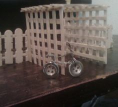 Hi this is my mini trellis made from icy pole sticks and a bike from buttons and paper clips.