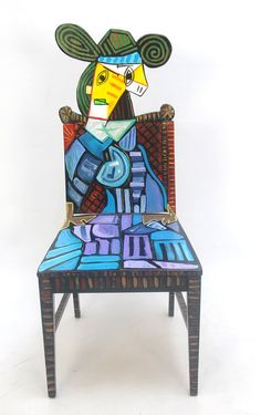 Picasso Femme Assise Dans un Fauteuil upscaled painted chair by Artist Todd Fendos