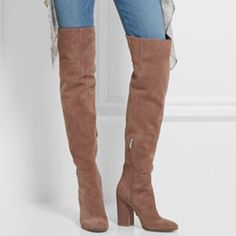 Shoespie stretch-suede Apricot Chunky Heel Knee High Boots