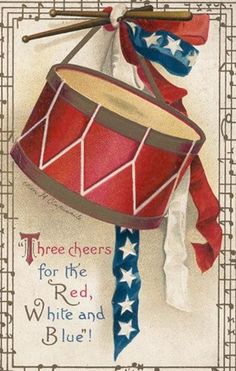 Patriotic Drum - Free Vintage images for veterans day card or 4th of july cards