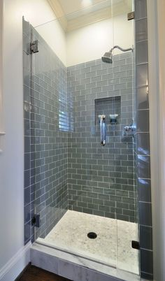 Frameless shower with smoky blue-gray subway tile. 2019 Frameless shower with smoky blue-gray subway tile. The post Frameless shower with smoky blue-gray subway tile. 2019 appeared first on Shower Diy. Bad Inspiration, Bathroom Inspiration, Subway Tile Showers, Subway Tiles, Granite Shower, Glass Tile Bathroom, Glass Tiles, Bathroom Cabinets, Bathroom Green