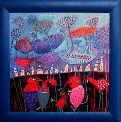ELKE TRITTEL: (40x40cm) acrylic paint, pencils, stencils, oil pastels, inks, markers, gesso, & collage elements.