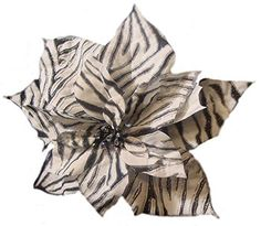 Felices Pascuas Collection 11 inch Diva Safari Black and White Zebra Print Flower Clip On Christmas Ornament