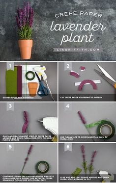 Make Your Own Potted Crepe Paper Lavender Plant - Potted Purple ✨ Lavender is just so lovely! We found a way for you to make your own crepe paper la - Crepe Paper Flowers, Fabric Flowers, Faux Flowers, Diy Flowers, Fleurs Diy, Paper Plants, Diy Papier, Paper Flower Tutorial, Handmade Flowers