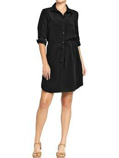 Old Navy Womens Crepe Tie-Belt Shirt Dresses-Fall Work attire