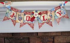 Lori Hairston: Red, White & Blue Banner for Craft Us Crazy Patriotic Crafts, Patriotic Party, July Crafts, Summer Crafts, Holiday Crafts, Holiday Fun, Patriotic Bunting, Americana Crafts, Christmas Ideas