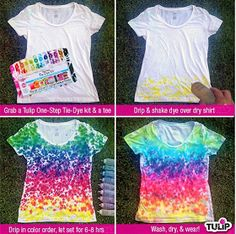 Rainbow-Drip Tie Dye Shirt, have a party and invite teens and their friends to make these easy shirts. Tie Dye Shirts, Dye T Shirt, T Shirt Diy, How To Tie Dye, How To Dye Fabric, Tie Dye Party, Tie Dye Kit, Tie Dye Crafts, Tie Dye Techniques