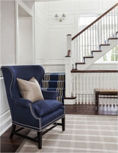 navy linen chair traditional staircase, navy stair runner, wood treads, white