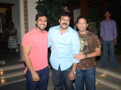 Ram Charan Teja with Chiranjeevi and Sachin Tendulkar