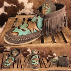Pre-Order Turquoise Loredo Mocs for October by HolyCowCouture