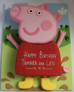 Peppa Pig Cake Ideas -  Peppa Cake  (by Pauls Creative Cakes, via Flickr)    Birthday Party Cake, Peppa Pig, George Pig, Daddy Pig, Mummy Pig, Peppa House, Muddy Puddle, Red Car, Dinosaur, 3D Cake
