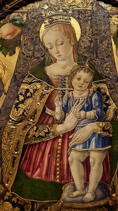 Detail of Altarpiece by Vittore Crivelli showing closeup of Virgin and Child Fermo Italy, 1481 CE -- Tempera on Panel