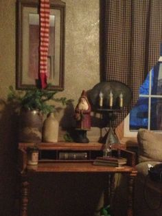 Primitive Christmas, love the lamp Primitive Christmas Decorating, Primitive Country Christmas, Prim Christmas, Merry Little Christmas, Primitive Crafts, Winter Christmas, Vintage Christmas, Christmas Crafts, Christmas Ideas