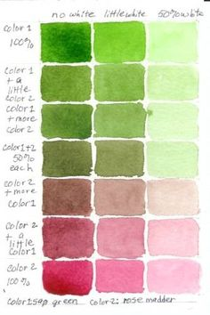 Watercolor Color Mixing Chart: Sap Green and Rose Madder.   This watercolor chart was painted by Frances in preparation for painting her Kona Hibiscus http://painting.about.com/od/colourtheory/ig/color-mixing-charts/Watercolor-Color-Mixing-Chart.htm  It shows beautifully what a range of colors can be mixed from just two.