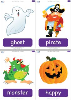 """Set of 36 Halloween flashcards to go with the """"Super Simple Songs - Halloween"""" CD. Great for introducing holiday vocabulary and playing games. #preK #Kindergarten #ESL"""