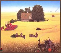 Foraging In The Field - (Jacek Yerka) #surrealism #oilpainting #art #yerka #field #yellow #cottage