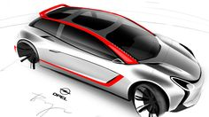 Sketching concept cars, industrial design