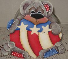 Stars Patriotic Bear Patriotic Cookie LidsHoliday by jusbcuz, $18.99