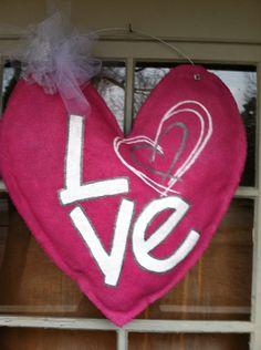 LOVE Valentine Burlap Door Hanger. $35.00, via Etsy. Burlap Projects, Burlap Crafts, Wreath Crafts, Burlap Art, Diy Crafts, Valentines Greetings, Valentine Day Crafts, Valentine Decorations, Valentine Ideas